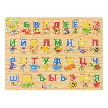 Азбука деревянная на планшете арт. MD 0001 R 30-40-1 см