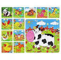 Пазлы для малышей деревянные, 9  элементов 12 видов, 14,5-14,5 см