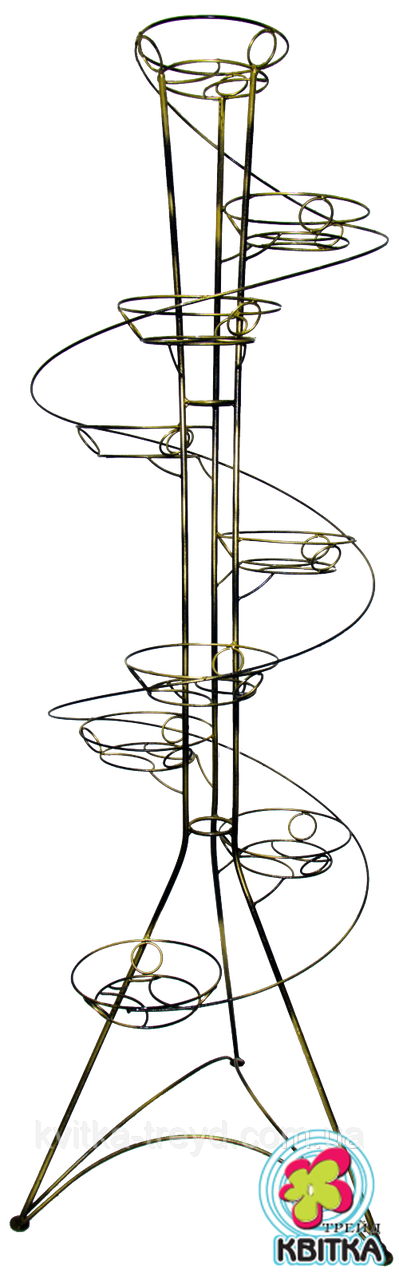 Кованая подставка для цветов Спираль 9