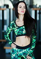 Спортивный топ Geometric Green long sleeve