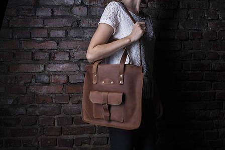 Ділова жіноча сумка коричневого кольору