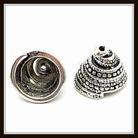"""Колпачок бижутерный """"серебро""""  (диам. 1,5 см, высота 1,1 см) 5 шт в уп."""