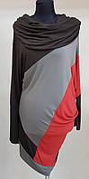 Ассиметричная туника с хомутом, серо-красно-коричневая (Франция)
