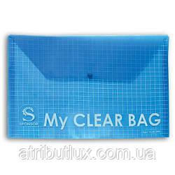 А4 папка на кнопке 209 My Clear прозрачная 16 микрон СИНЯЯ