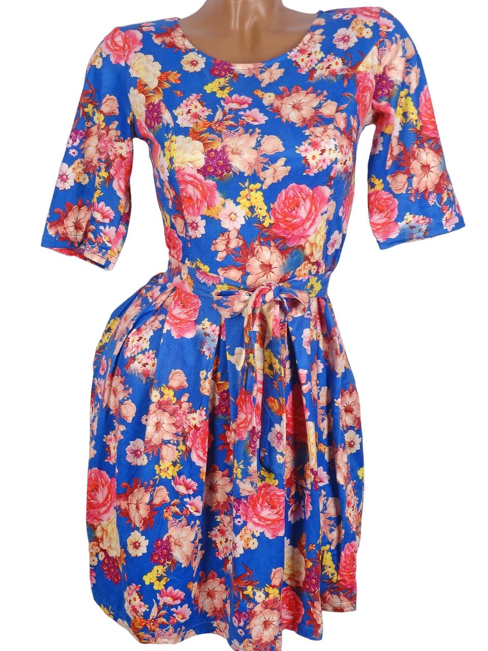 Яркое летнее платье в цветы (в расцветках 42-46)
