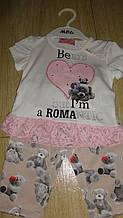 Комплект футболка на дівчинку стрази та шорти під джинс