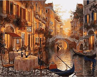 "Q2116 ""Кафе на берегу канала"" Картина по номерам на холсте 40х50см"