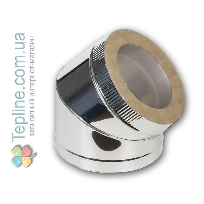 Коліно-сендвіч 45° для димоходу d 120 мм; 0,8 мм; AISI 304; неіржавіюча сталь/неіржавіюча сталь - «Версія-Люкс»