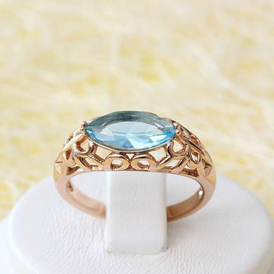 R1-2497 - Кольцо со светло-голубым фианитом розовая позолота, 17.5 р.