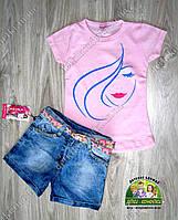 Костюм летний для девочки: футболка и джинсовые шорты, фото 1