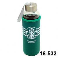 "Бутылка ""Starbucks"" 400 мл стеклянная в термо-чехле"