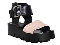 """Женские кожаные босоножки на небольшой платформе """"Жатка""""  (пудровые) Donna Ricco № Н-603"""