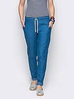 Легкие женские брюки из хлопка голубой, синий