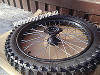 Колесо переднее 70/100-17 сталь для питбайка Kayo в сборе (диск, покрышка, камера)