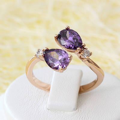 R1-2509 - Кольцо с фиолетовыми и прозрачными фианитами розовая позолота, размеры см. в описании