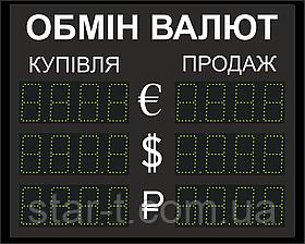 Светодиодное табло Обмен валют. Сверхяркое до 4000 мКд