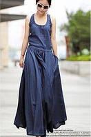 Синее, зелеоне платье из натурального льна с расклешенной юбкой, фалдами. Длинное и миди, фото 1