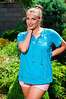 Летняя женская блуза хлопок. Два цвета.Натуральная ткань.Размер: L 48-50,XL 50-52,XXL 52-54,XXXL 54-56 , фото 1