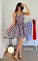 Женское красивое летнее платье из джинс-коттона в расцвеках