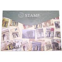 Папка-конверт на липучке P1980 Stamp А4 зеленая