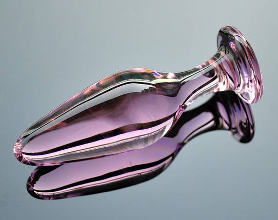 Анальная пробка средняя LYNX Ice Rose 3,4 см розовая стеклянная на подарок, фото 2