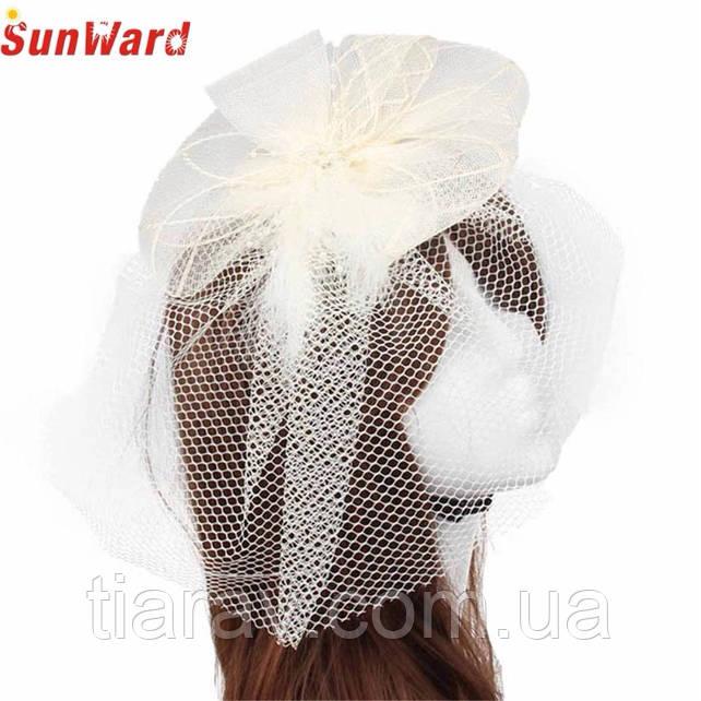 Шляпка свадебная на заколке Ирэн белая шляпа тиара для волос