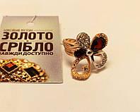 Кольцо Цветок, золотое, с камнями, женское.
