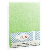 Простынь махровая на резинке HomeLine 180х200 салатовая 150 г/м2