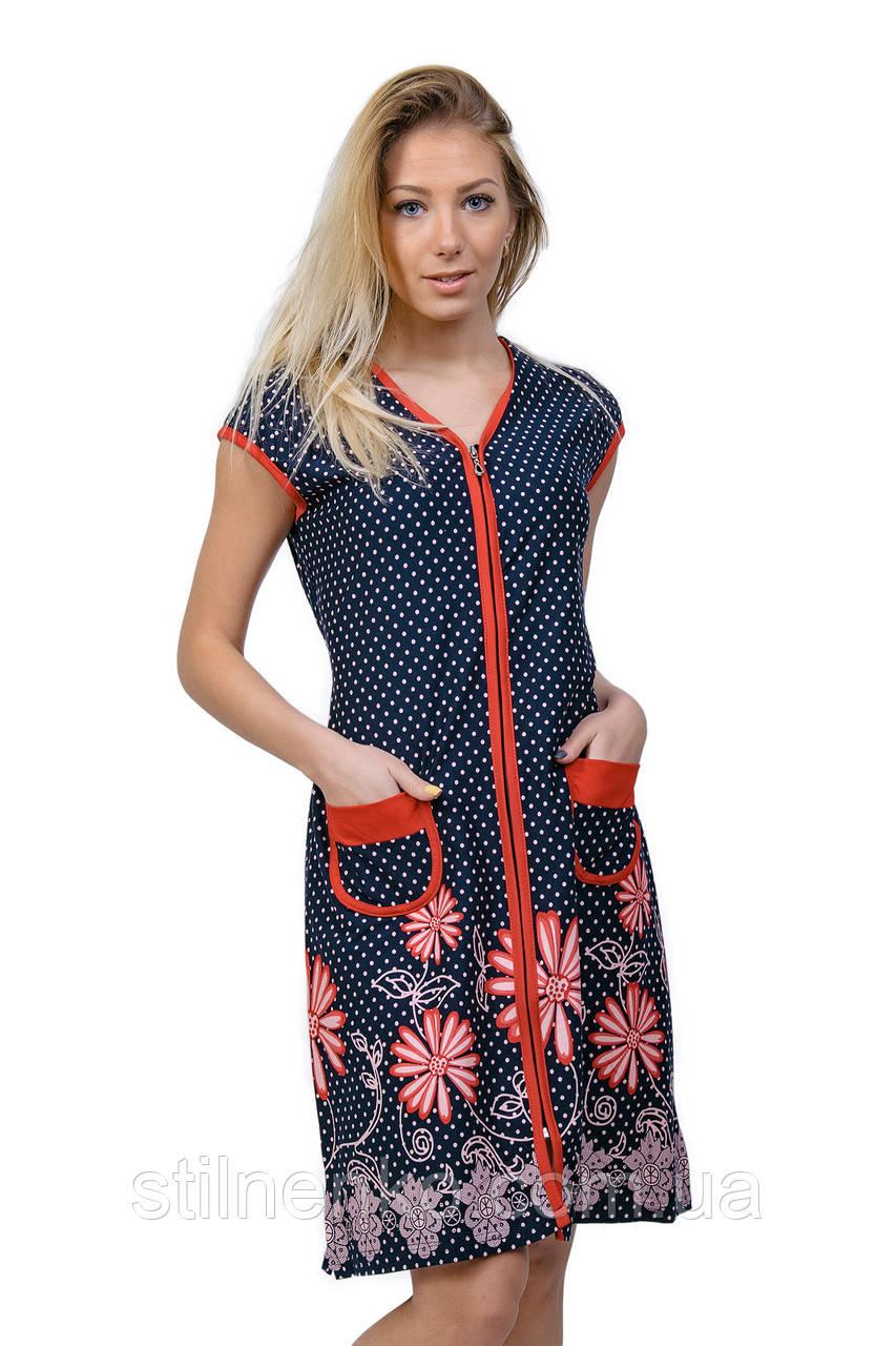 fdcae6980353 Женский цветной халат на змейке