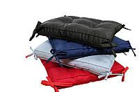 Подушка на табурет, сидушка подушка , 40 х 40 х 5,с завязками, разные цвета