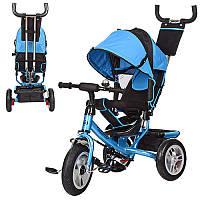Велосипед M 3113-5A  три колеса резина (12/10), колясочный, свободный ход колеса, тормоз, подшипник, голубой