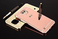 Металлический зеркальный чехол бампер Mirror для LG X Cam  (4 цвета в наличии)