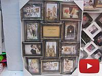 Бронзовая рамка коллаж на 12 фото, пластик со стеклянными накладками