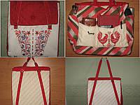 Сумка –рюкзак трансформер «Калина» льняная с вышивкой в украинском стиле