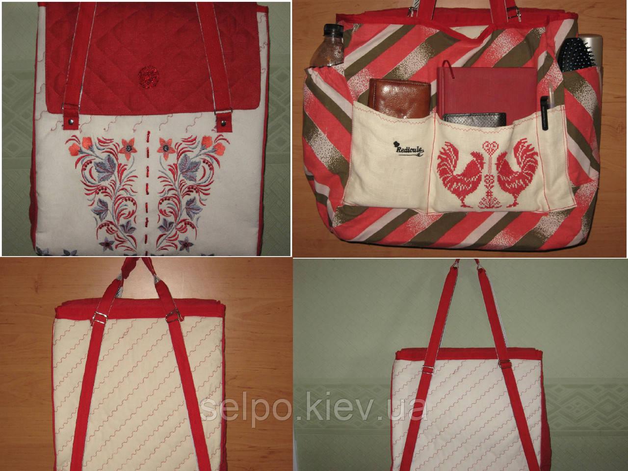 Сумка – рюкзак трансформер авторская работа «Калина» льняная с вышивкой в  украинском стиле - 148f6d25dd176
