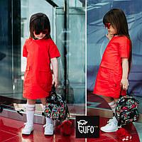 Платье красное для девочек льняное JoJo