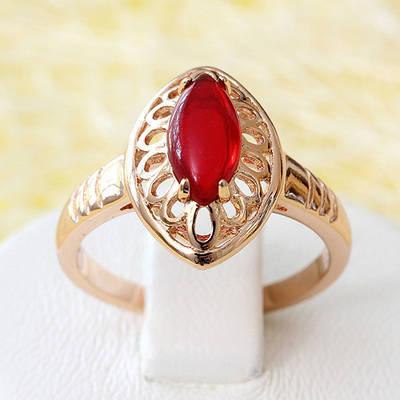 R1-2521 - Кольцо с красной вставкой розовая позолота, 17.5, 18.5 р.