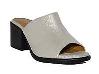 Женские кожаные шлепанцы на каблуках (золотые) Donna Ricco №04-279