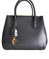 Брендовая женская сумка черная рептилия большая