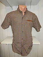 Рубашка мужская CORM короткий рукав, полу батал мелкая клетка  001 \ купить рубашку Склад 7 км