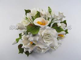 Букет: розы + калла, Ø 190 мм (разные цвета)