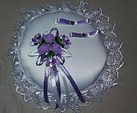 Свадебная круглая подушка под кольца № 1 (сиреневая)