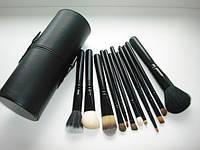 Кисти Набор кистей для макияжа в тубусе 12 штук Черные без логотипа, фото 1