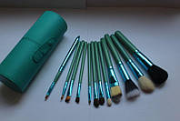 Набор кистей для макияжа 12 штук (в тубусе) (бирюзовые), фото 1