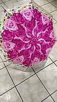 Зонт прозрачный с малиновыми розами