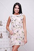 Платье персиковое принт цветы