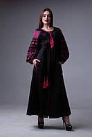 Длинное черное вечернее платье с вышивкой