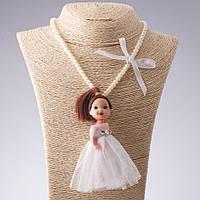 Бусы брелок  детские  на резинке L-36см Кукла белое платье L-11см