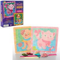 Набор для творчества MK 0481 (72шт.) мозаика наклейки(паетки),блеск,картин2шт.,1мел,в коробке18-18-3см