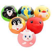 Пищалка P6177 (48шт.) для купания, 7-7см, животное-мячик, 6шт. в кульке 16,5-29-7см